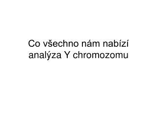 Co všechno nám nabízí analýza Y chromozomu