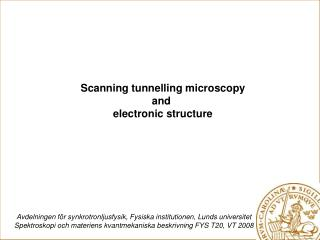 Scanning tunnelling microscopy and  electronic structure