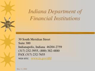 Indiana Department of  Financial Institutions