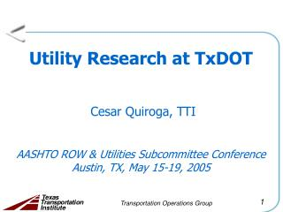 Utility Research Plan at TxDOT