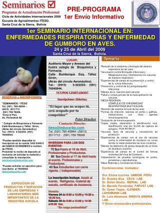 LUGAR: Auditorio Mayor y Anexos del  Ilustre colegio de  Bioquímica y Farmacia.