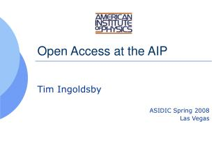 Open Access at the AIP
