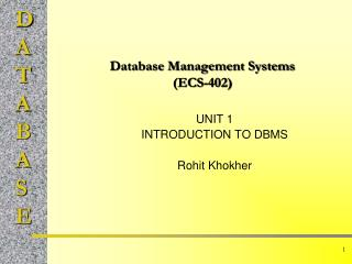 Database Management Systems (ECS-402)