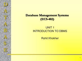 Database Management Systems (ECS-402)