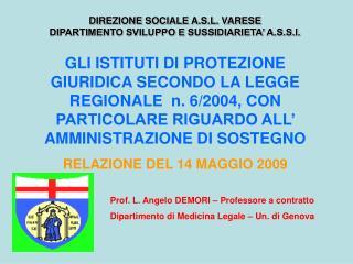 Prof. L. Angelo DEMORI – Professore a contratto