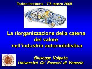 La riorganizzazione della catena  del valore  nell'industria automobilistica