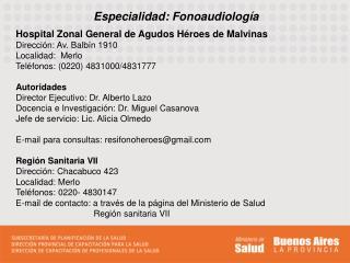 Especialidad: Fonoaudiología