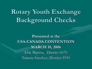 Rotary Youth Exchange Background Checks