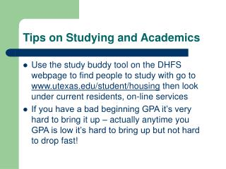 Tips on Studying and Academics