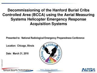 Presented to:  National Radiological Emergency Preparedness Conference