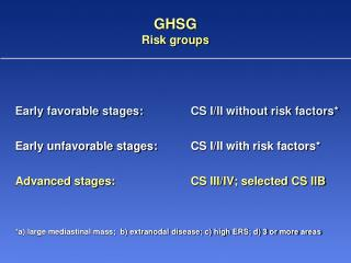 GHSG  Risk groups