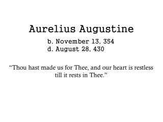 Aurelius Augustine