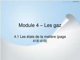 Module 4 – Les gaz