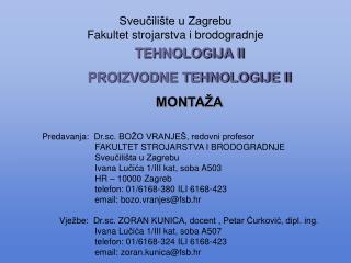 Sveučilište u Zagrebu Fakultet strojarstva i brodogradnje