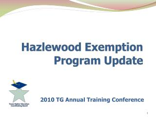 Hazlewood Exemption Program Update