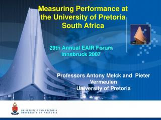Measuring Performance at the University of Pretoria South Africa