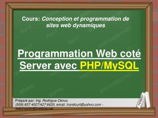 Programmation Web coté Server avec  PHP/MySQL