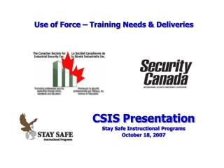 Use of Force – Training Needs & Deliveries