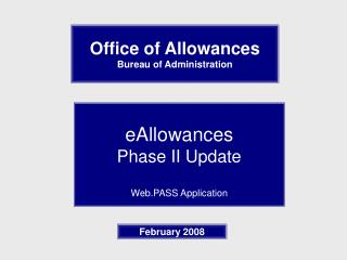 Office of Allowances  Bureau of Administration