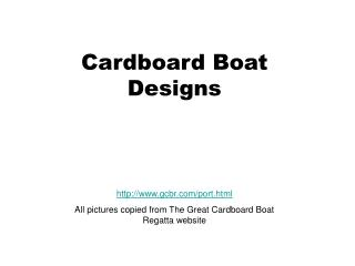 Cardboard Boat  Designs