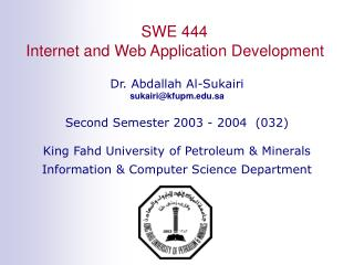 SWE 444 Internet and Web Application Development