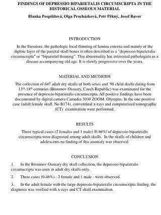 FINDINGS OF DEPRESSIO BIPARIETALIS CIRCUMSCRIPTA IN THE HISTORICAL OSSEOUS MATERIAL