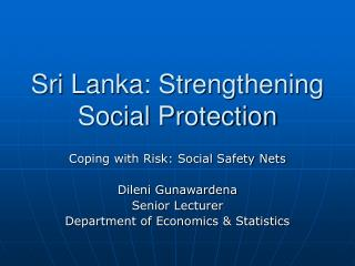 Sri Lanka: Strengthening Social Protection