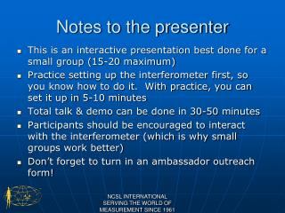 Notes to the presenter