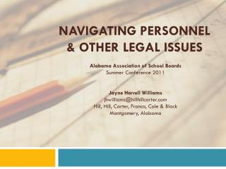 Navigating Personnel  & Other Legal Issues