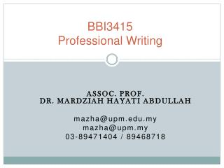 BBI3415 Professional Writing