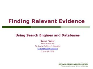 Finding Relevant Evidence
