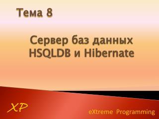 Сервер баз данных  HSQLDB  и  Hibernate