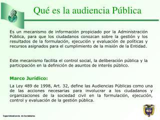 Qué es la audiencia Pública