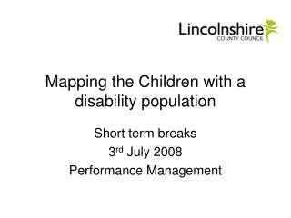 Mapping the Children with a disability population