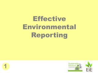 Effective Environmental Reporting
