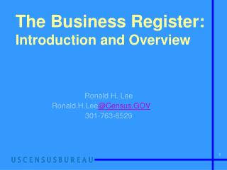 The Business Register: Introduction and Overview