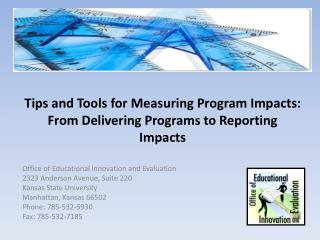 Tips and Tools for Measuring Program Impacts:  From Delivering Programs to Reporting Impacts