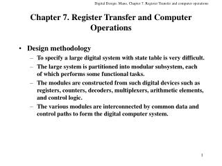 Chapter 7. Register Transfer and Computer Operations