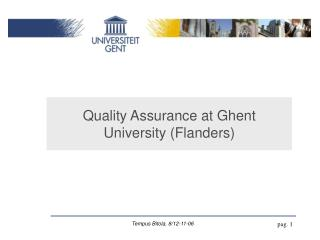 Quality Assurance at Ghent University (Flanders)