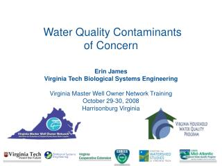 Water Quality Contaminants  of Concern