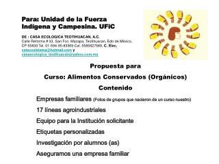 Propuesta para Curso: Alimentos Conservados (Orgánicos) Contenido