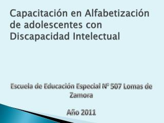 Capacitación en Alfabetización de adolescentes con Discapacidad Intelectual