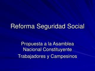 Reforma Seguridad Social