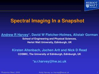 Spectral Imaging In a Snapshot