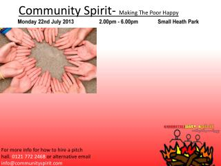 Community Spirit-  Making The Poor Happy