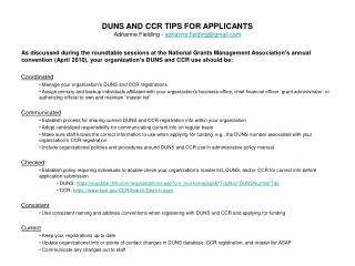 DUNS AND CCR TIPS FOR APPLICANTS Adrianne Fielding - adrianne.fieldinggmail