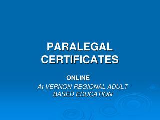 PARALEGAL CERTIFICATES
