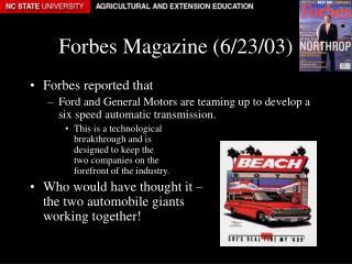 Forbes Magazine (6/23/03)