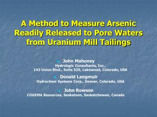 A Method to Measure Arsenic Readily Released to Pore Waters from Uranium Mill Tailings