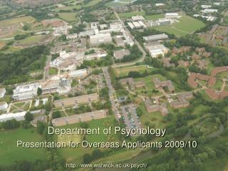 Department of Psychology  Presentation for Overseas Applicants 2009/10